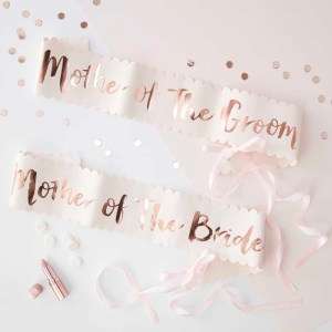 "Pink & Rose Gold ""Mother of the Bride/Groom"" Sashes"