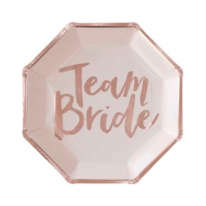 Rose Gold Team Bride Paper Plates