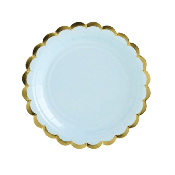 Light Blue and Gold Trim Paper Plates