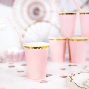 Pastel Pink and Gold Paper Cups