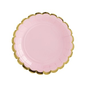 Light Pink and Gold Trim Paper Plates