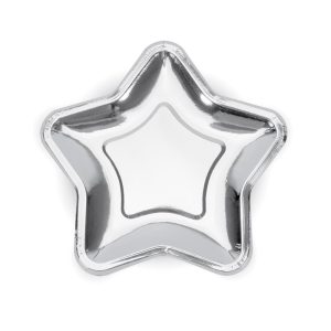 Metallic Silver Star Plates