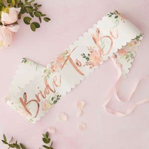 Floral Bride To Be Hen Sash