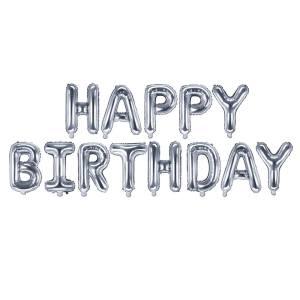 Silver Happy Birthday Balloons