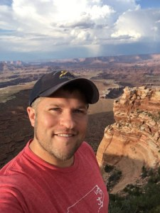Jon Hathaway's selfie at the rim of a canyon in Utah.