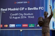 CARDIFF, WALES - Tuesday, August 12, 2014: A statue of Frederick Charles Keenor outside the stadium ahead of the UEFA Super Cup at the Cardiff City Stadium. (Pic by David Rawcliffe/Propaganda)
