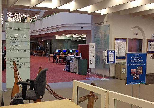 Inside the entrance of the Reference Library