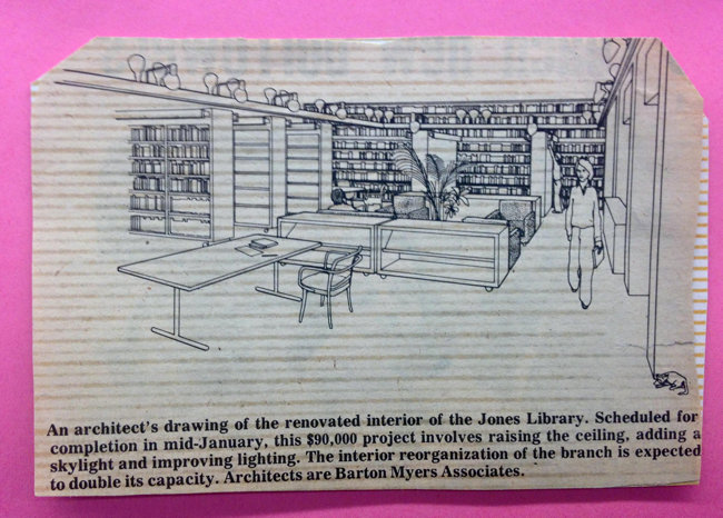 Rendering showing a simple table and low-slung bookshelves in front of two facing pairs of armchairs