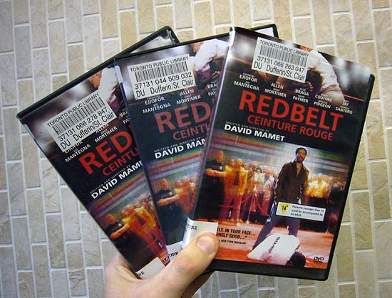 Three copies of 'Redbelt' on DVD