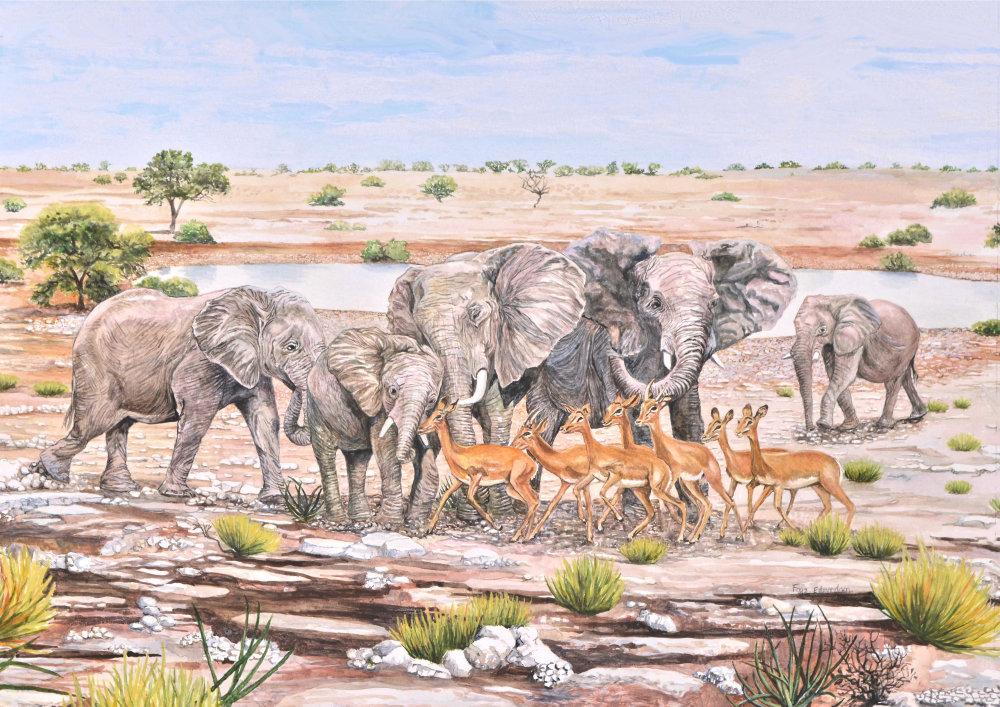 'Etosha, Namibia', a watercolour painting by Faye Edmondson of Somerset