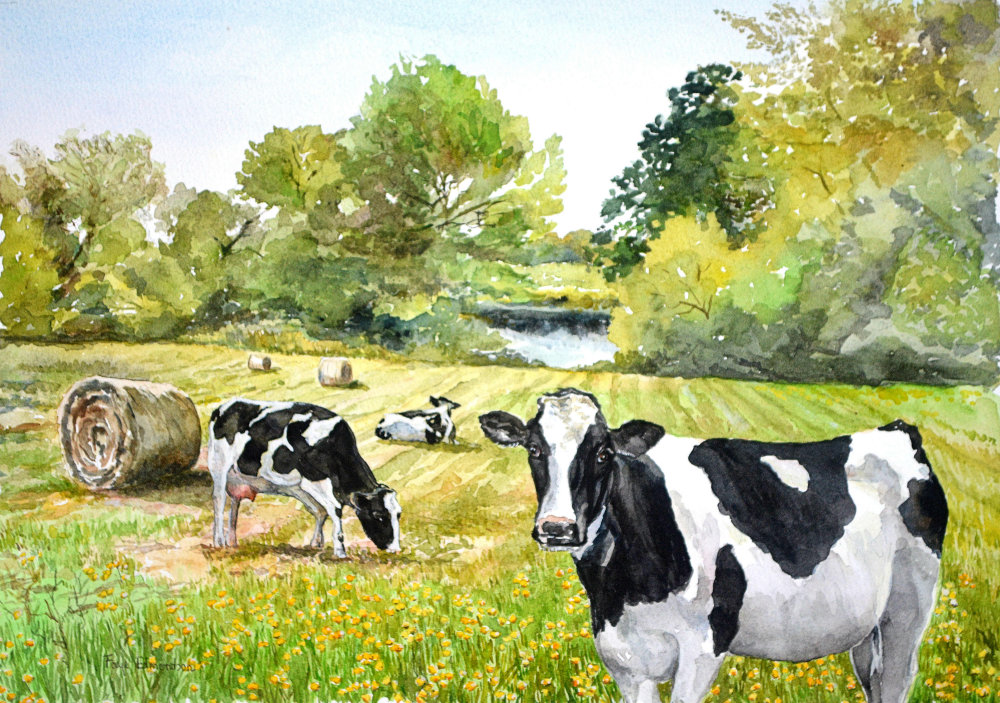 Lazy afternoon - a watercolour painting by Somerset artist, Faye Edmondson