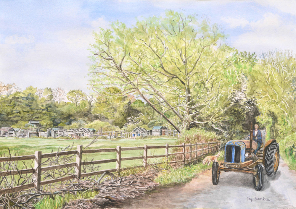 Pillbridge Lane, Ilchester - painted in watercolours by Faye Edmondson of Somerset