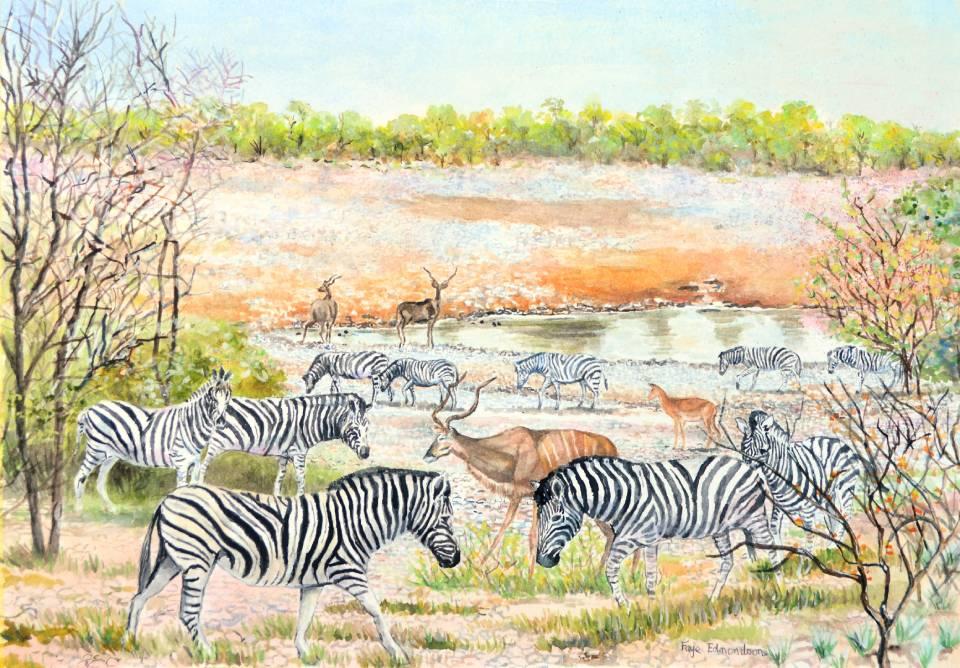 'Etosha Watering Hole' - watercolours on paper, by Faye Edmondson