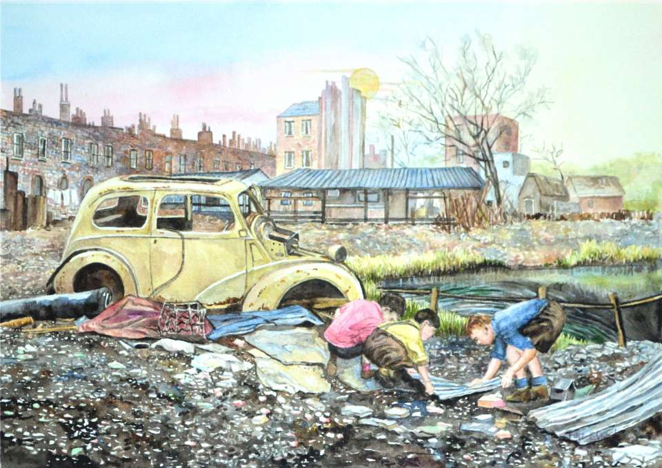 The watercolour painting by Faye Edmondson of Somerset, 'Wasteland'.