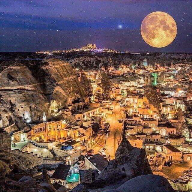 Full moon over Göreme, Cappadokia