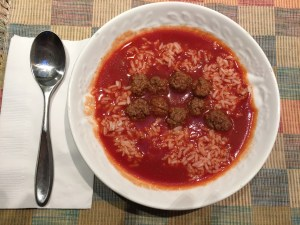 tomato soup with tiny meatballs, 2016