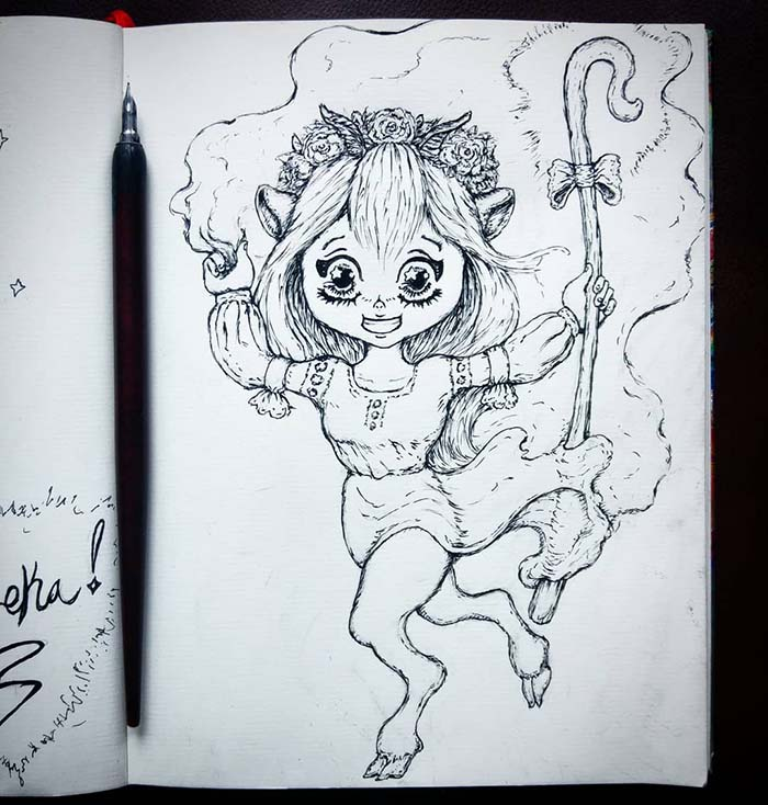Pen and ink sketch done by Phaedon-Z