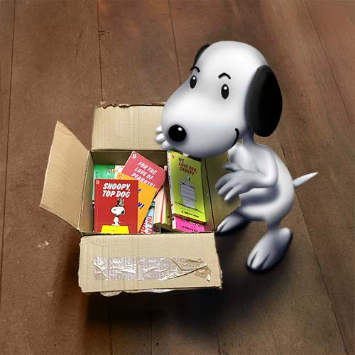 Snoopy exploring a box of Snoopy books
