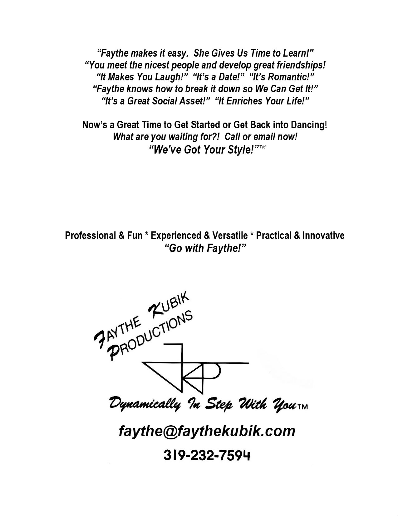 Dance Instruction Faythe Kubik Productions Official Site