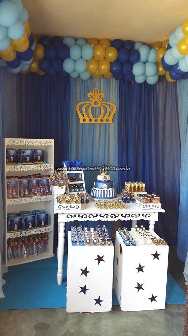Festa Coroa de Prncipe Azul Marinho