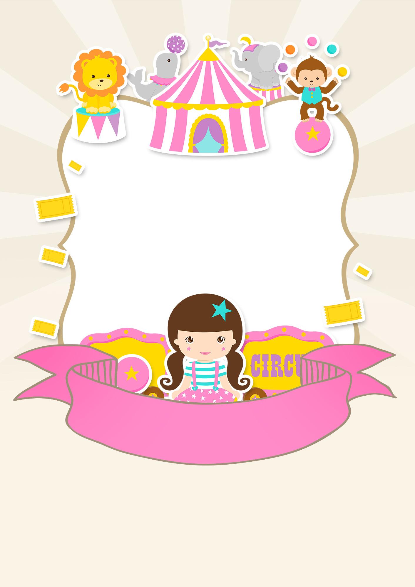 Convite Especial Circo Menina  Fazendo a Nossa Festa