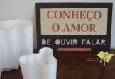 """Dulce Maria Cardoso """"De ouvir falar"""" [Frase proposta por Inês Nadais] Original: cartão canelado recortado, papel impresso colado. A4."""