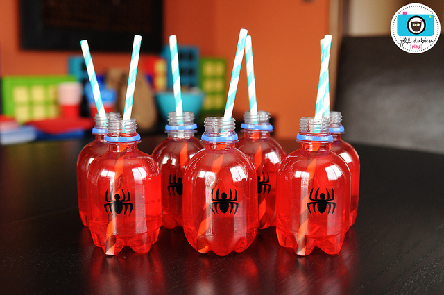Bebida-Criativa-para-Festa-do-Homem-Aranha Homem Aranha Festa infantil