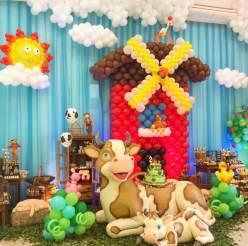 Balões-tema-festa-fazendinha-09 Idéias para festa Infantil com tema Fazendinha para meninos e meninas