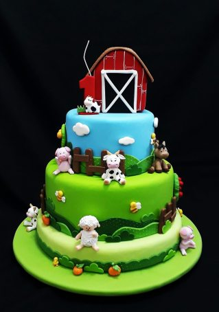 Bolo-festa-infantil-fazendinha-12 Idéias para festa Infantil com tema Fazendinha para meninos e meninas