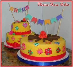 Bolo-festa-infantil-são-joão-04 Idéias para festa Infantil com tema Fazendinha para meninos e meninas