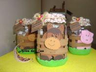 Lembrancinha-aniversário-fazendinha-potinho-com-feltro-e-eva Idéias para festa Infantil com tema Fazendinha para meninos e meninas