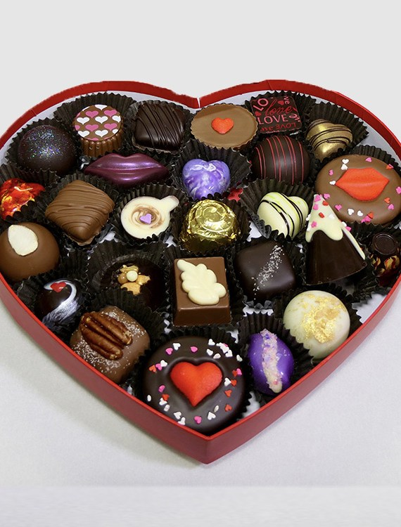 heart-shaped box of Valentine chocolates