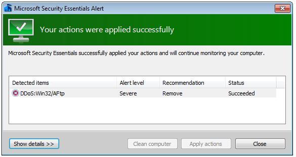 microsoft security essentials как удалить вирус