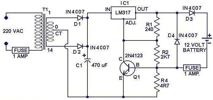 Схема зарядного устройства для шуруповерта. Электрическая