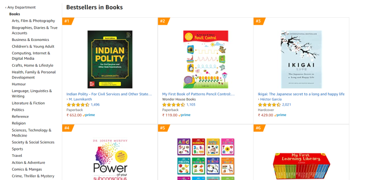 amazon india bestsellers
