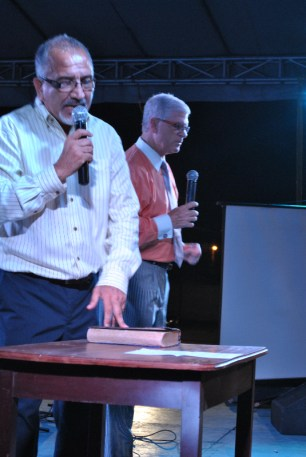 Victor (left) translated for Pastor Taylor (right) at the men's conference and every night of the crusade