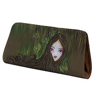 Miniature portrait hand painted clutch Brown