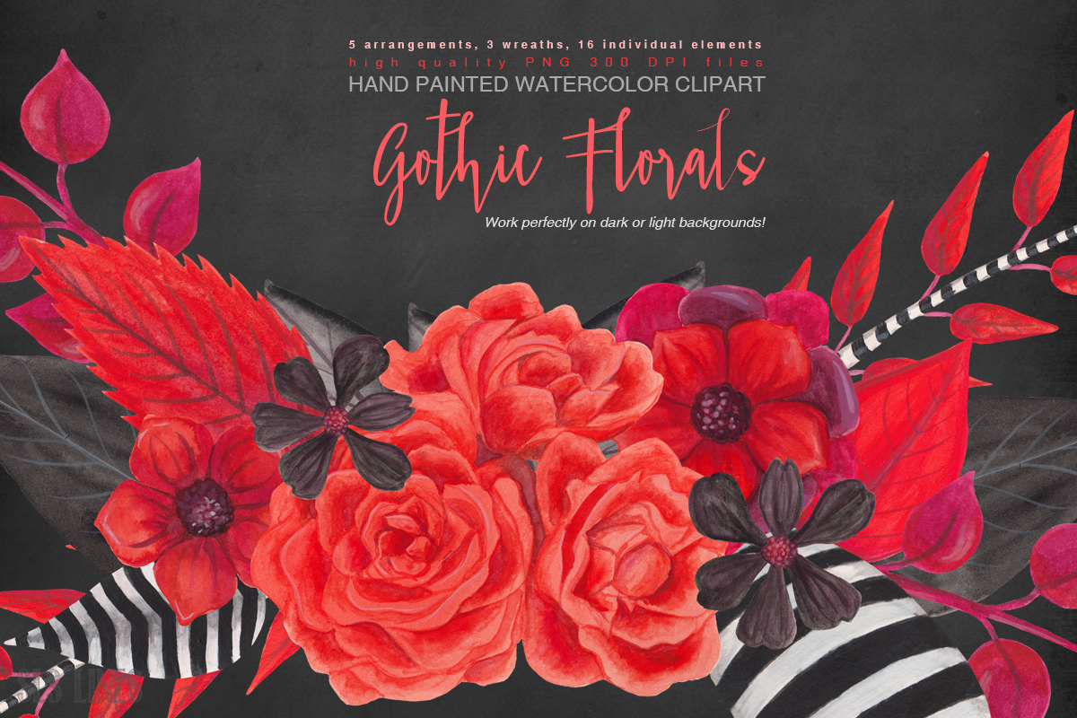gothic floral watercolors in