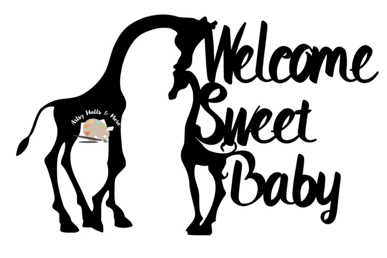 Giraffe baby shower cake topper svg Welcome sweet baby svg