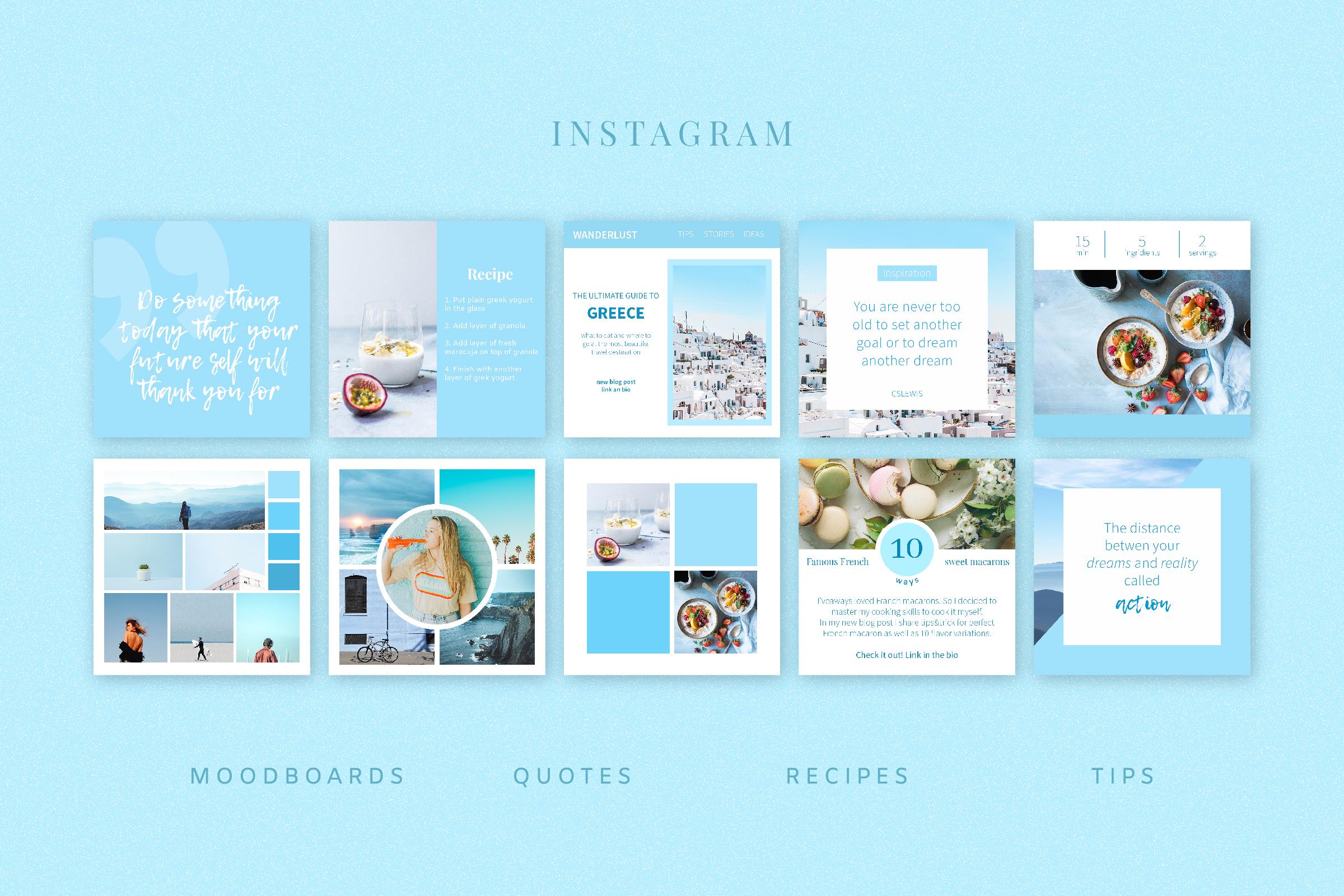 Blue   Instagram templates pack (36940)   Presentation Templates   Design Bundles