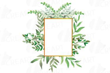 leaves watercolor frames floral printable wild borders cart