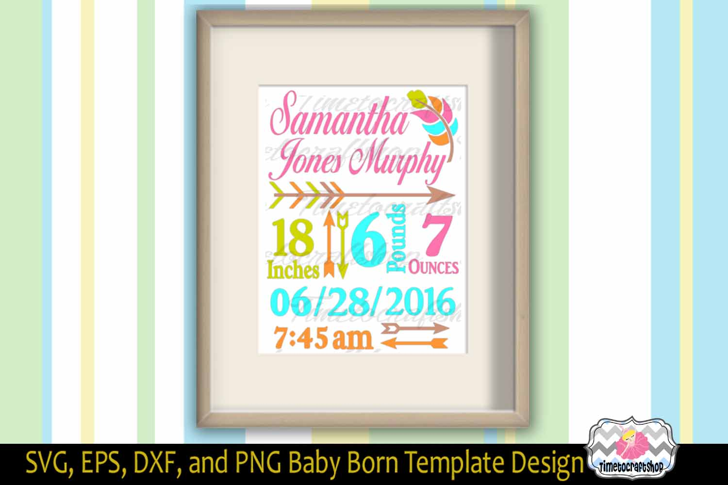 Svg, Dxf, Png & Eps Cutting Files Baby Birth Announcement Template For  Cricut And