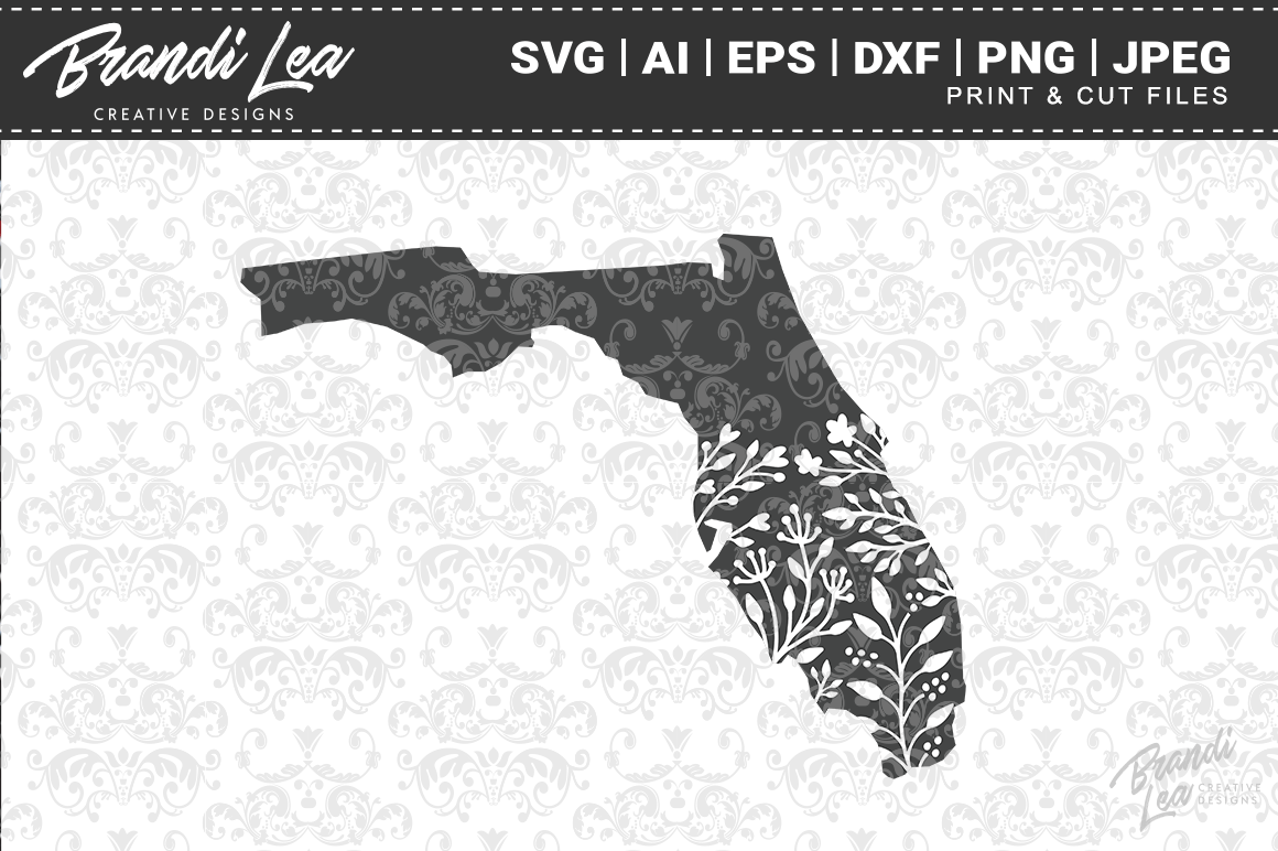 Florida Floral State Map SVG Cutting Files