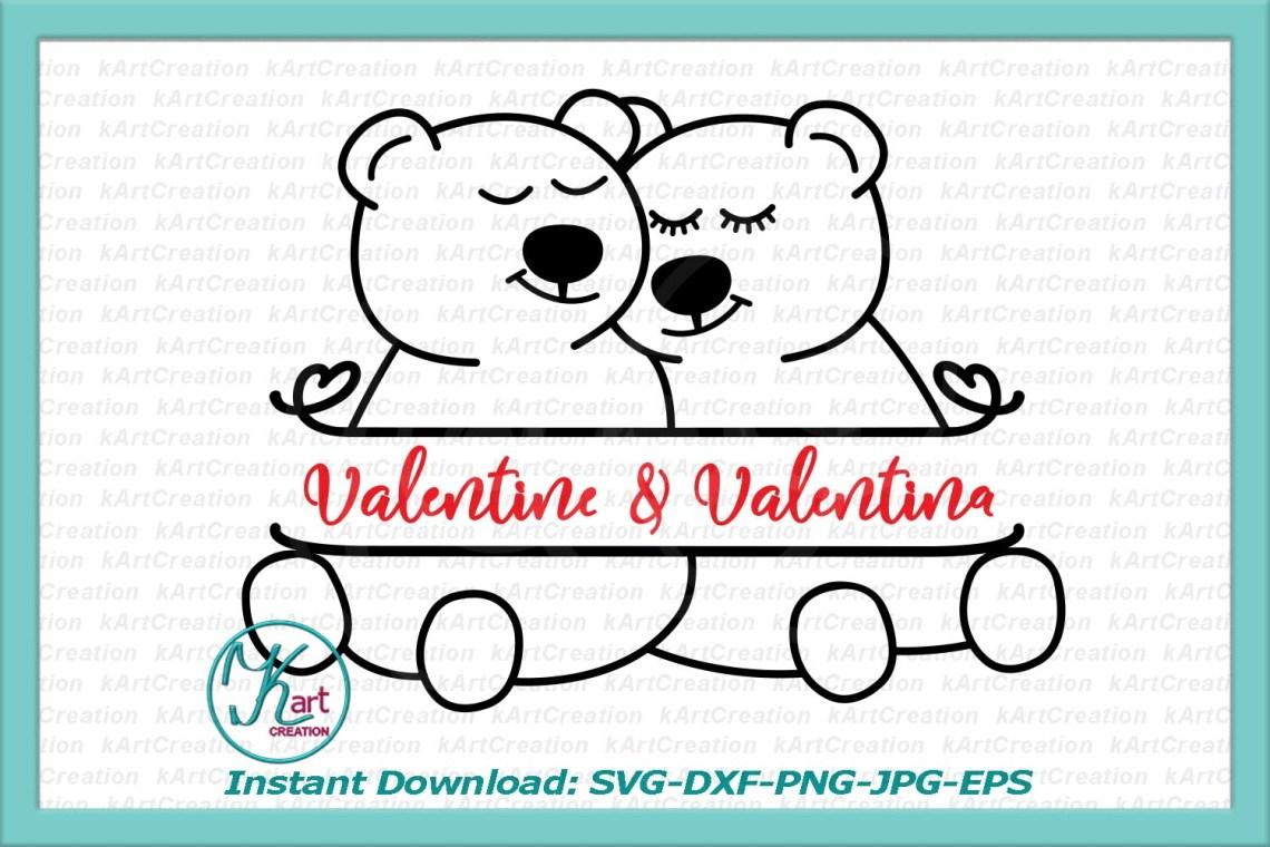 Download Couple bear split Valentine Love monogram svg dxf cut ...