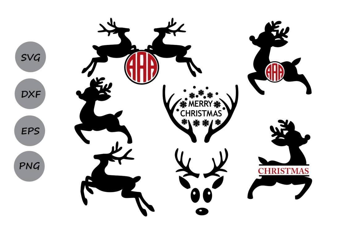 Download Reindeer svg, Reindeer monogram svg, Reindeer face ...