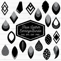 Faux Leather Earrings Bundle SVG, EPS, DXF, PNG (99717 ...