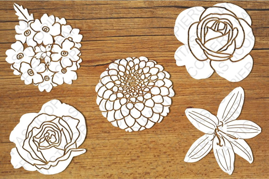Download Flowers SVG files for Silhouette Cameo and Cricut. Flowers ...