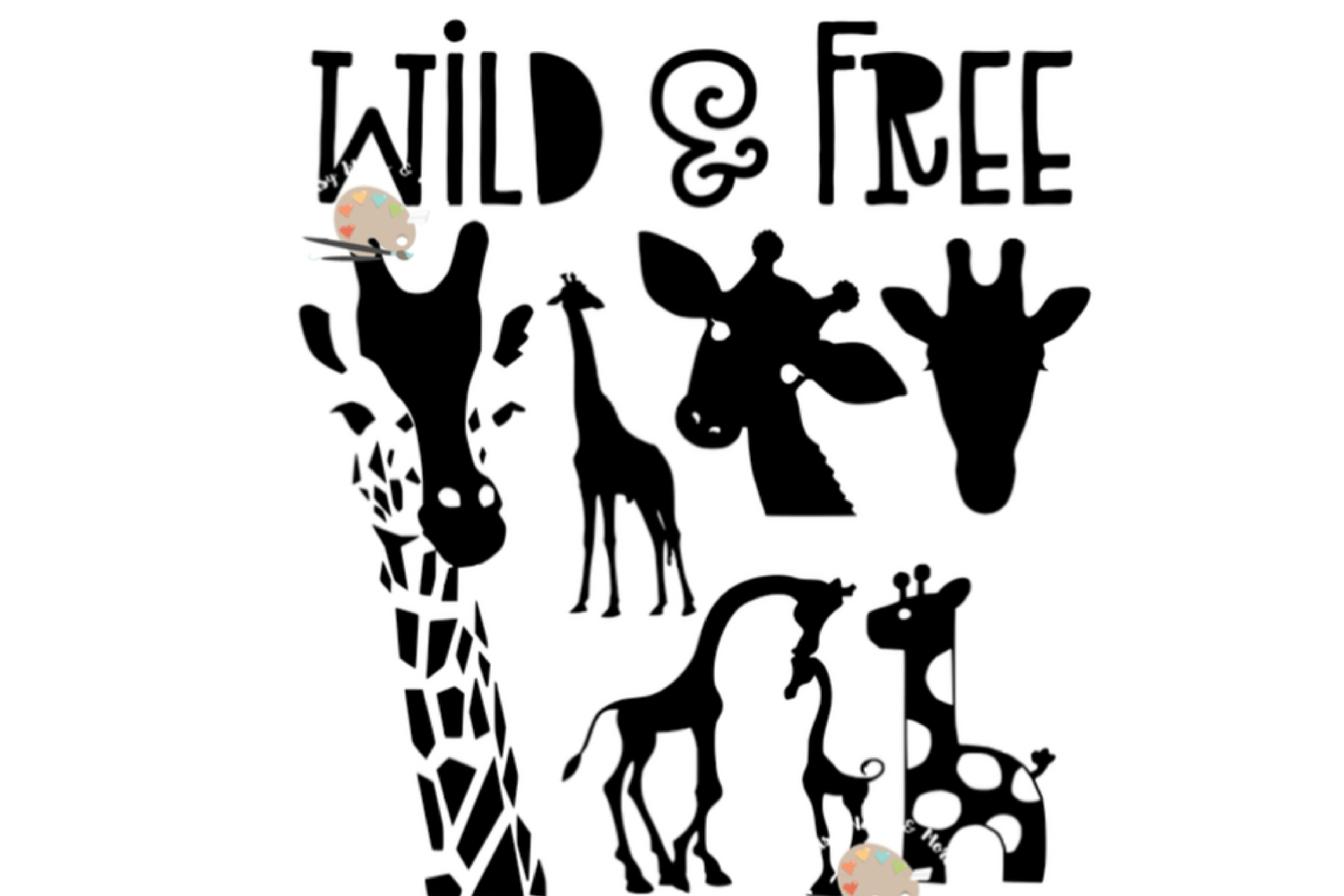 Giraffes Bundle Svg Wild And Free Giraffe Silhouette Svg