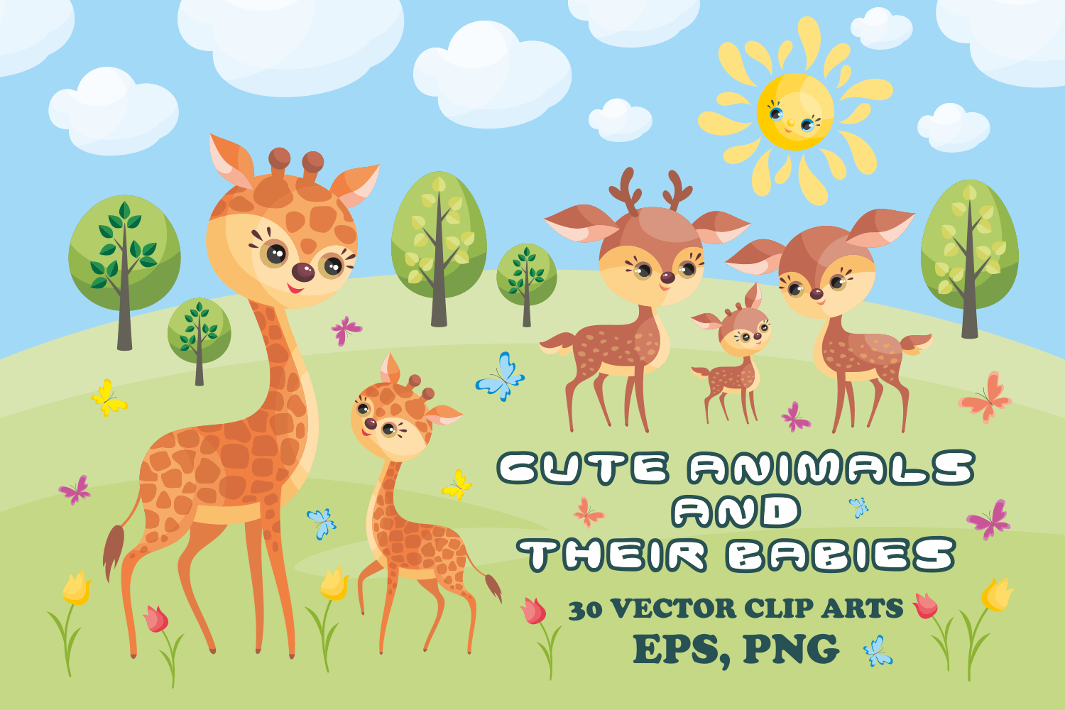 Cute Animals And Their Babies Vector Clip Arts