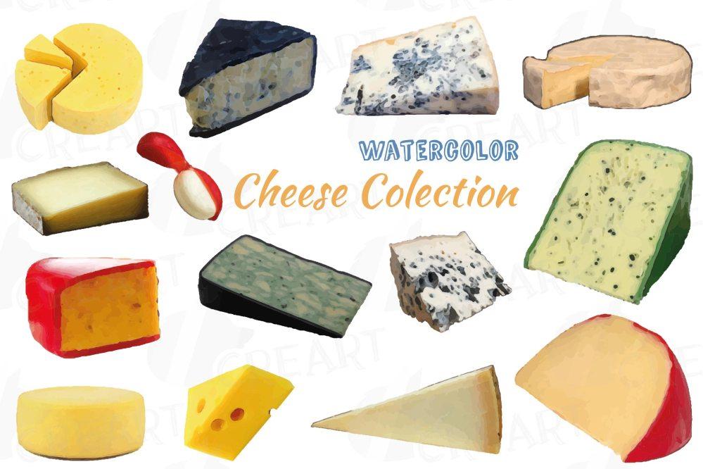 medium resolution of watercolor cheese clip art pack culinary food print vectors example image 1